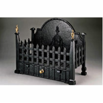 Cast iron fire basket, portcullis design cutout