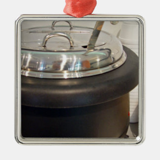 Cast Iron soup kettle Square Metal Christmas Ornament