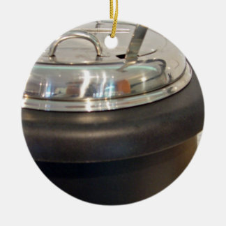 Cast Iron soup kettle Double-Sided Ceramic Round Christmas Ornament