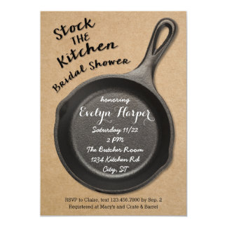 Cast Iron Stock the Kitchen Bridal Shower 5x7 Paper Invitation Card