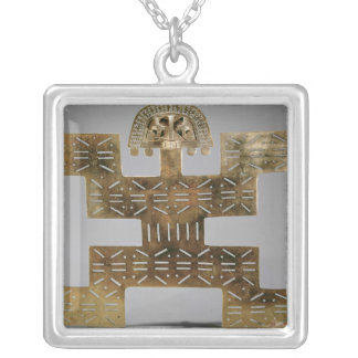 Cast Tumbaga pectoral, from Huaca del Dragon Silver Plated Necklace