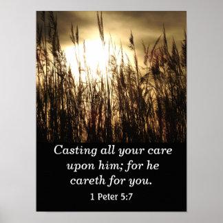 Cast your cares Upon Him  -Scripture Art Print