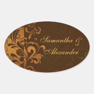Castaña Brown/oro/sello del sobre del remolino del Pegatina Ovalada