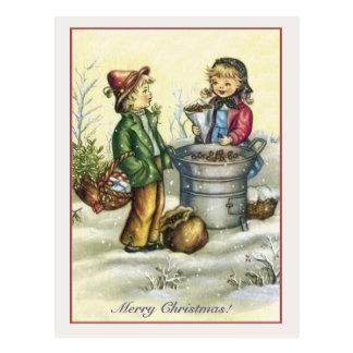 Castañas de los niños del navidad del vintage postales