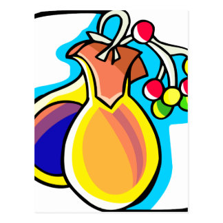 Castanets and berries, yellow and blue image postcard