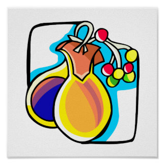Castanets and berries, yellow and blue image posters
