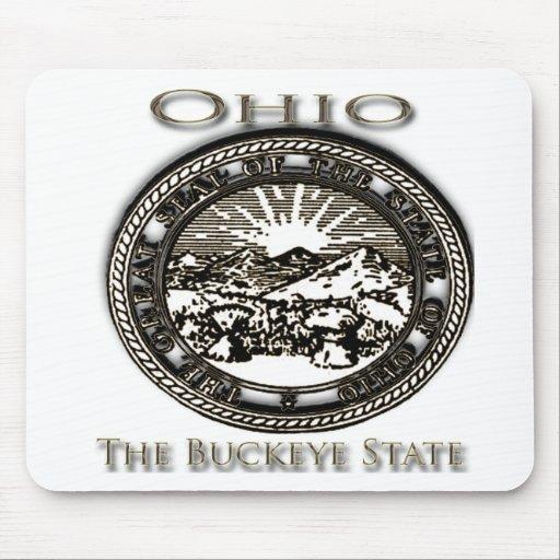 Castaño de Indias del sello del estado de Ohio Alfombrillas De Ratones