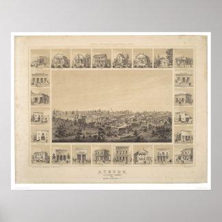 Castaños, mapa panorámico de California 1857 (2508 Posters
