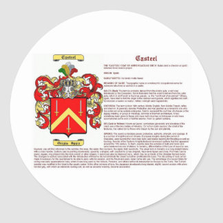 Casteel (meaning) classic round sticker