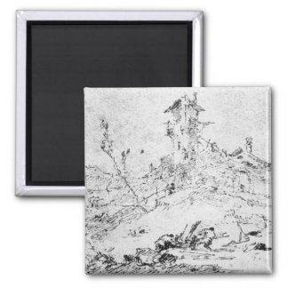 Castel Cogolo Per Andar a Trento (pen & ink on pap Magnet