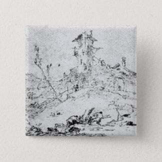 Castel Cogolo Per Andar a Trento (pen & ink on pap Pinback Button