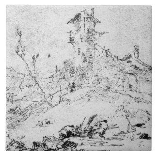 Castel Cogolo por Andar un Trento (pluma y tinta e Teja Ceramica