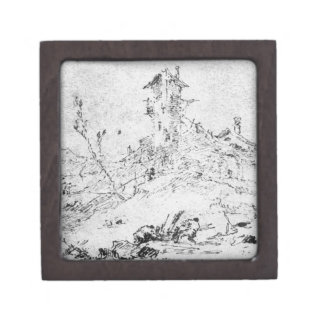 Castel Cogolo por Andar un Trento (pluma y tinta e Caja De Recuerdo De Calidad