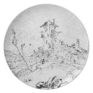 Castel Cogolo por Andar un Trento (pluma y tinta e Plato Para Fiesta