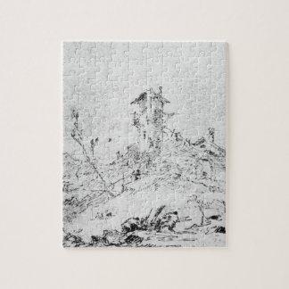 Castel Cogolo por Andar un Trento (pluma y tinta e Rompecabezas
