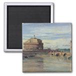 Castel Sant Ángel y el río Tíber, Roma Imán Cuadrado