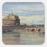 Castel Sant Ángel y el río Tíber, Roma Pegatina Cuadrada