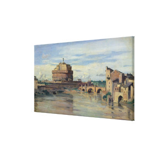 Castel Sant' Angelo and the River Tiber, Rome Gallery Wrap Canvas