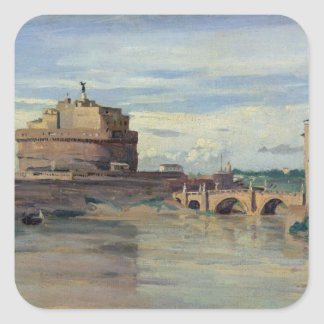 Castel Sant' Angelo and the River Tiber, Rome Square Sticker
