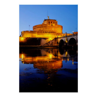 Castel Sant'Angelo and the Tiber river Poster