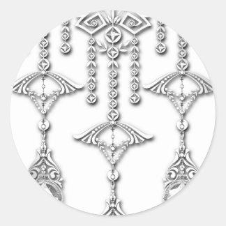 CASTELLINA JEWELS: CLASSY WHITE and SILVER Round Sticker