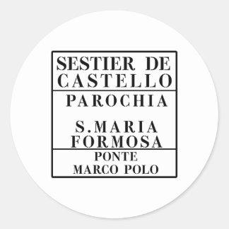 Castello-Formosa-Marco Polo, Venice, Street Classic Round Sticker