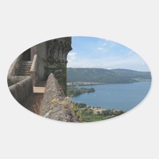 Castello Orsini-Odescalchi en Bracciano Pegatinas De Óval Personalizadas