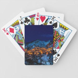 Castelmezzano, Italy - Snowy Winter Night Bicycle Playing Cards