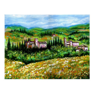 CASTELPERGOLATO IN CHIANTI YELLOW FLOWER FIELDS POSTCARD