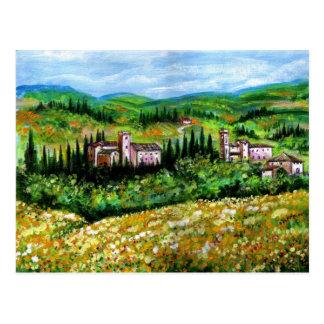 CASTELPERGOLATO IN CHIANTI  / YELLOW FLOWER FIELDS POSTCARD
