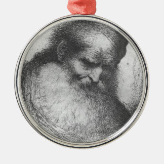 Castiglione - Head of a Bearded Old Man Silver-Colored Round Decoration