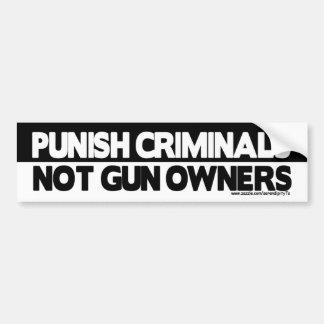 ¡Castigue a los criminales, no dueños de arma! Etiqueta De Parachoque