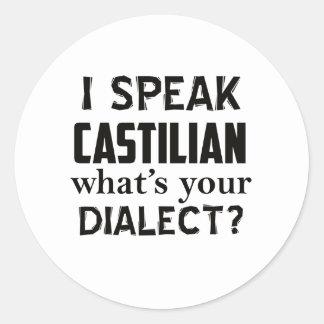 Castilian language designs classic round sticker