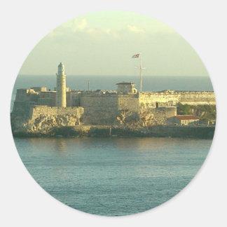 Castill del Morro La Habana Cuba Pegatinas Redondas