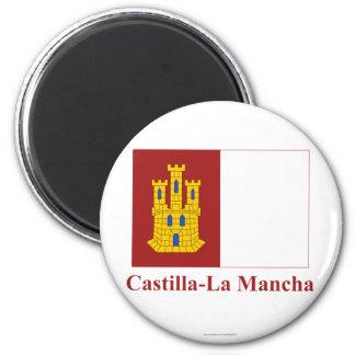 Castilla-La Mancha flag with name Magnet