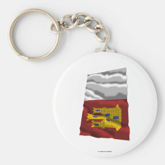 Castilla-La Mancha waving flag Basic Round Button Keychain