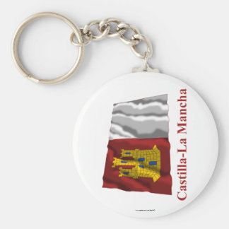 Castilla-La Mancha waving flag with name Basic Round Button Keychain