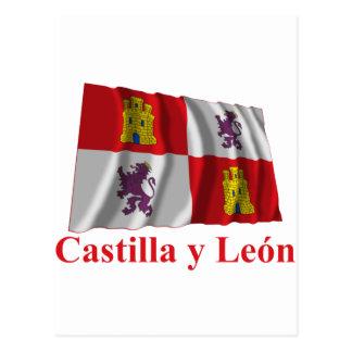 Castilla y León waving flag with name Postcard