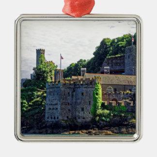 Castillo #2, Devon, Inglaterra de Dartmouth Adorno Navideño Cuadrado De Metal