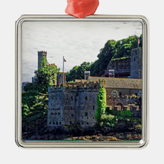 Castillo #2, Devon, Inglaterra de Dartmouth Adorno Cuadrado Plateado