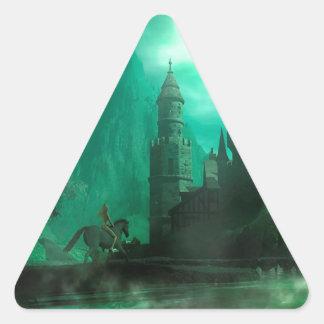 Castillo abstracto del claro de luna del jade de calcomanía trianguloada