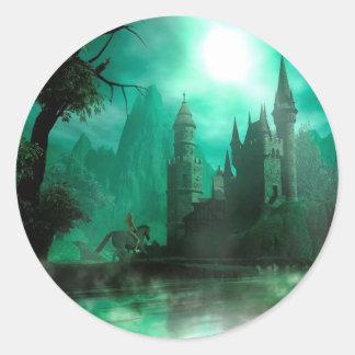Castillo abstracto del claro de luna del jade de pegatina redonda