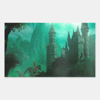 Castillo abstracto del claro de luna del jade de rectangular pegatina