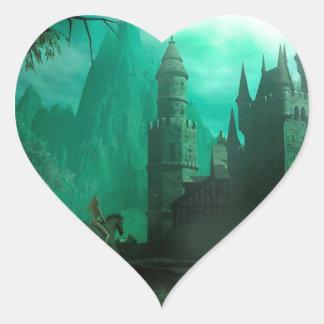 Castillo abstracto del claro de luna del jade de colcomanias de corazon personalizadas