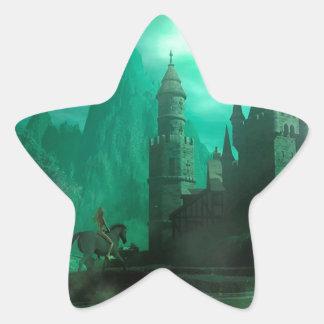 Castillo abstracto del claro de luna del jade de calcomanía forma de estrellae