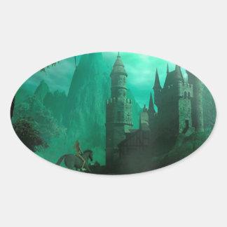Castillo abstracto del claro de luna del jade de pegatina de ovaladas