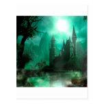 Castillo abstracto del claro de luna del jade de postal