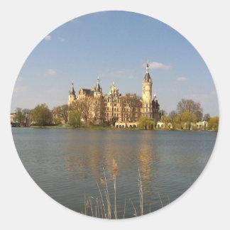 Castillo alemán Schwerin - Schloss - Pegatina Redonda