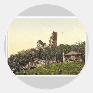 Castillo arruinado, Rothenburg, Hartz, Alemania Pegatina Redonda
