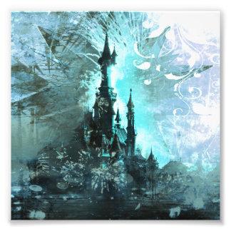 Castillo azul bonito de la fantasía del cuento de fotografías